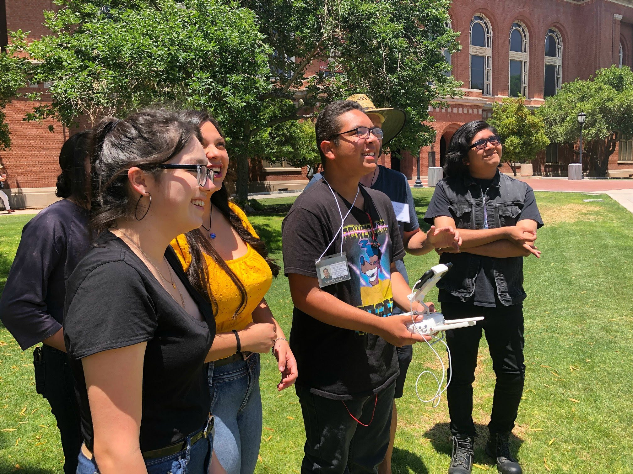 Students in 2019 workshop learning to fly drones