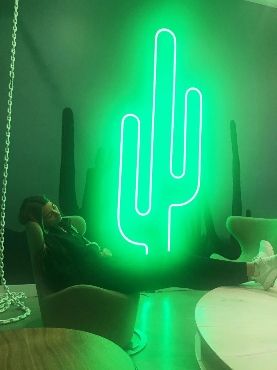 person sleeping in front of lit metal cactus