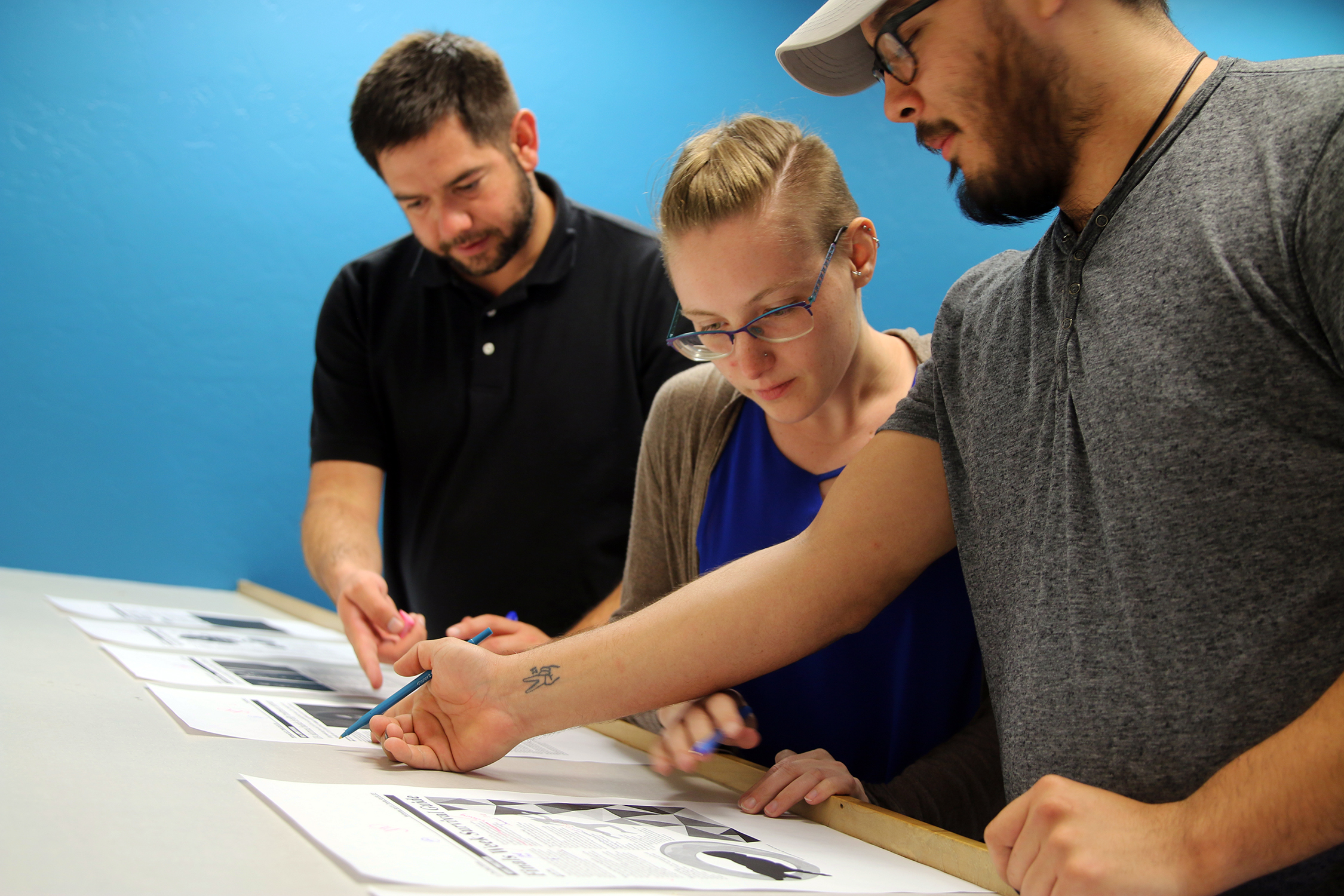 Students working on page layout