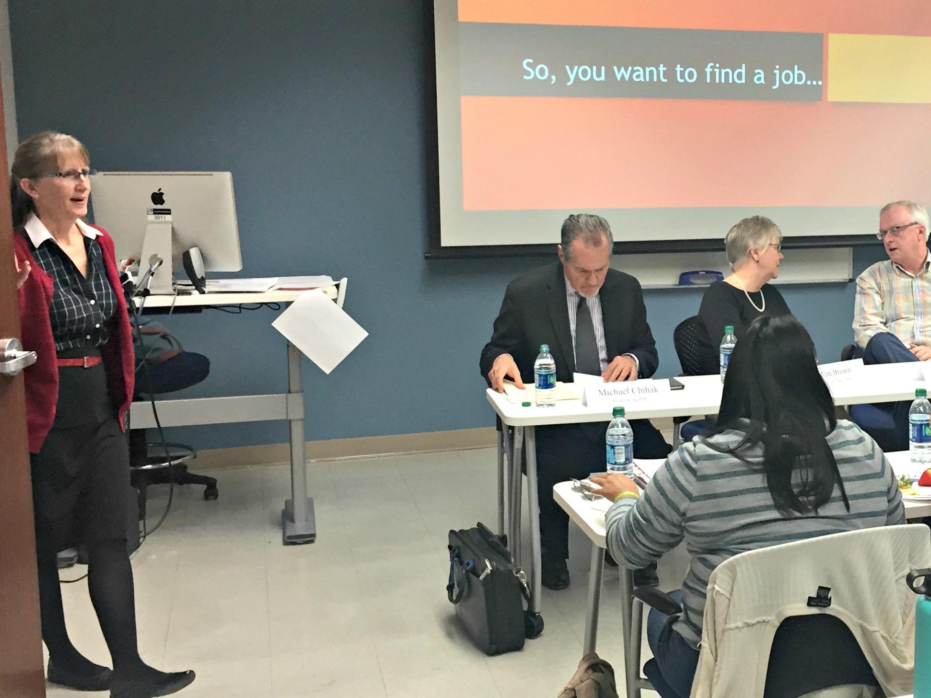 Internship Coordinator Renée Schafer Horton introduces a career panel.l