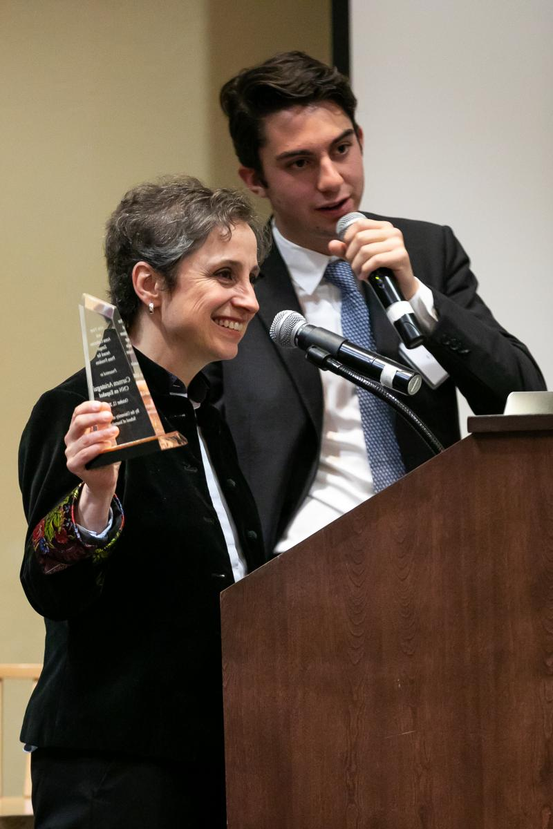 Carmen Aristegui and her son, Emilio. (Photos by Simon Asher/UA School of Journalism)