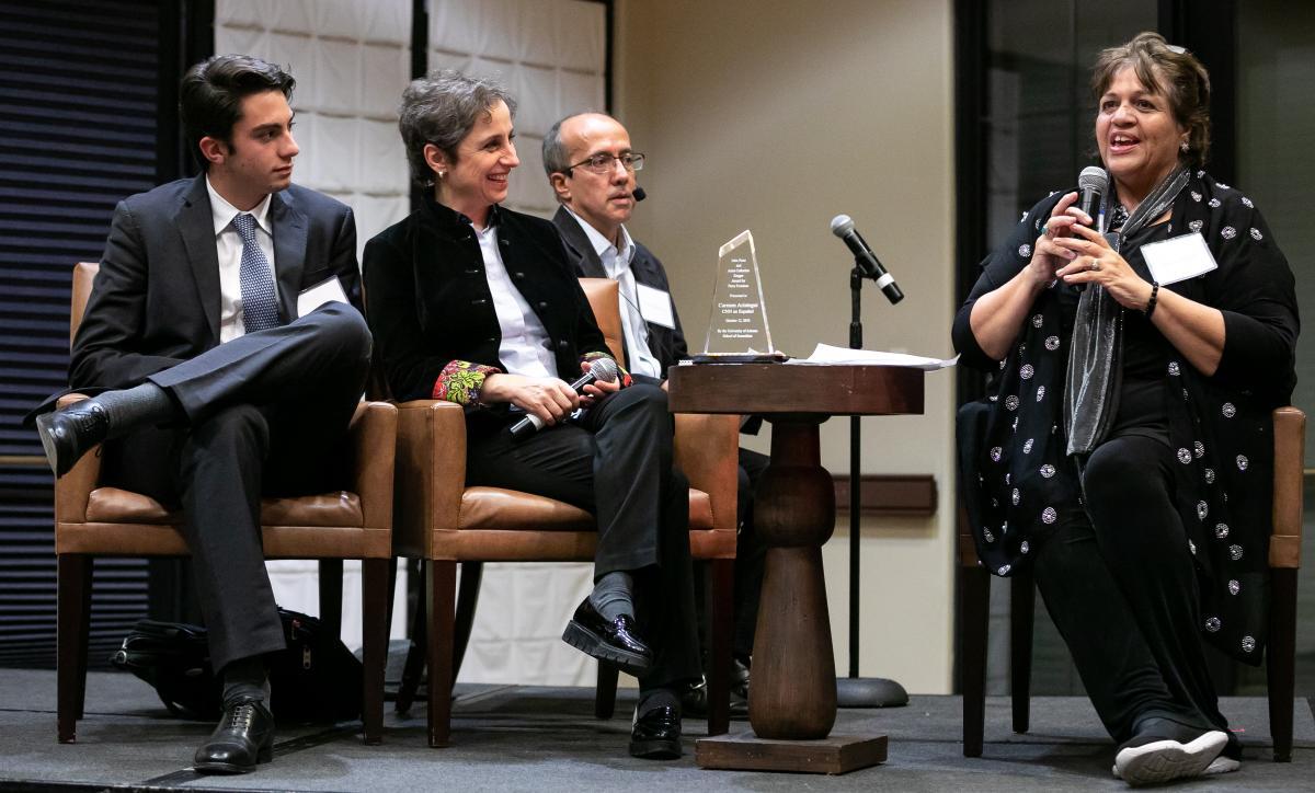 From left: Emilio and Carmen Aristegui, translator Jaime Fatas-Cabeza and emcee Nancy Montoya.