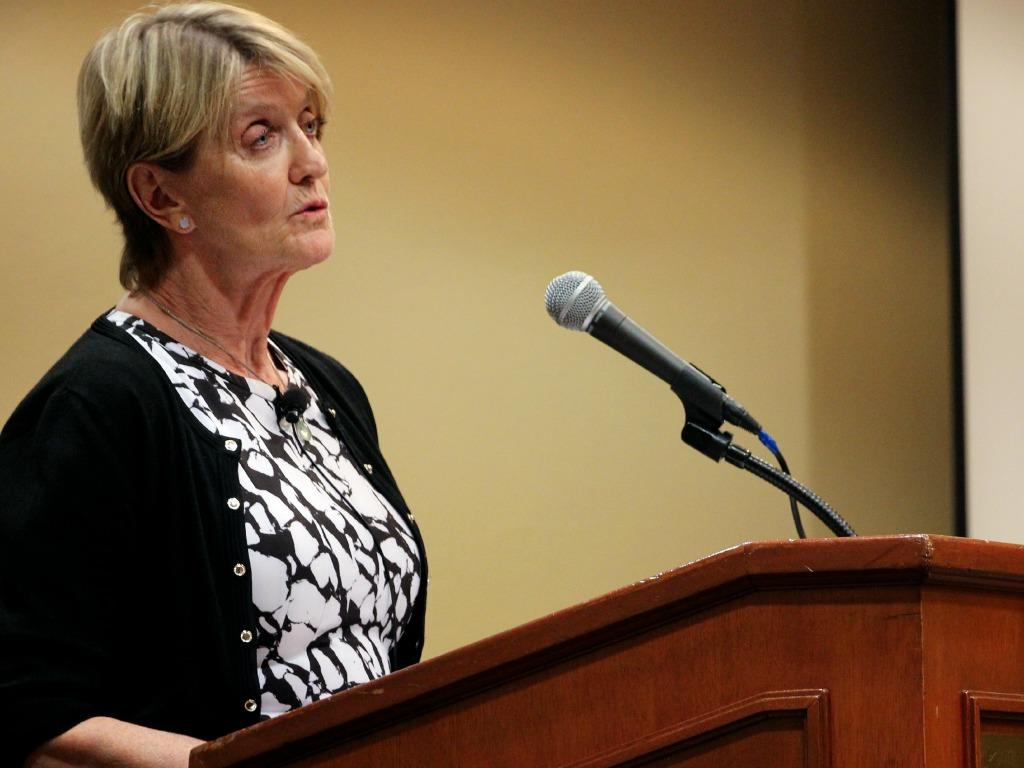 Kathy Gannon at podium