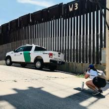 Student photographs a Border Patrol truck