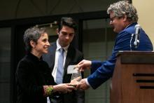 JP Jones, dean of the College of Social & Behavioral Sciences, gives Aristegui the Zenger Award for Press Freedom.