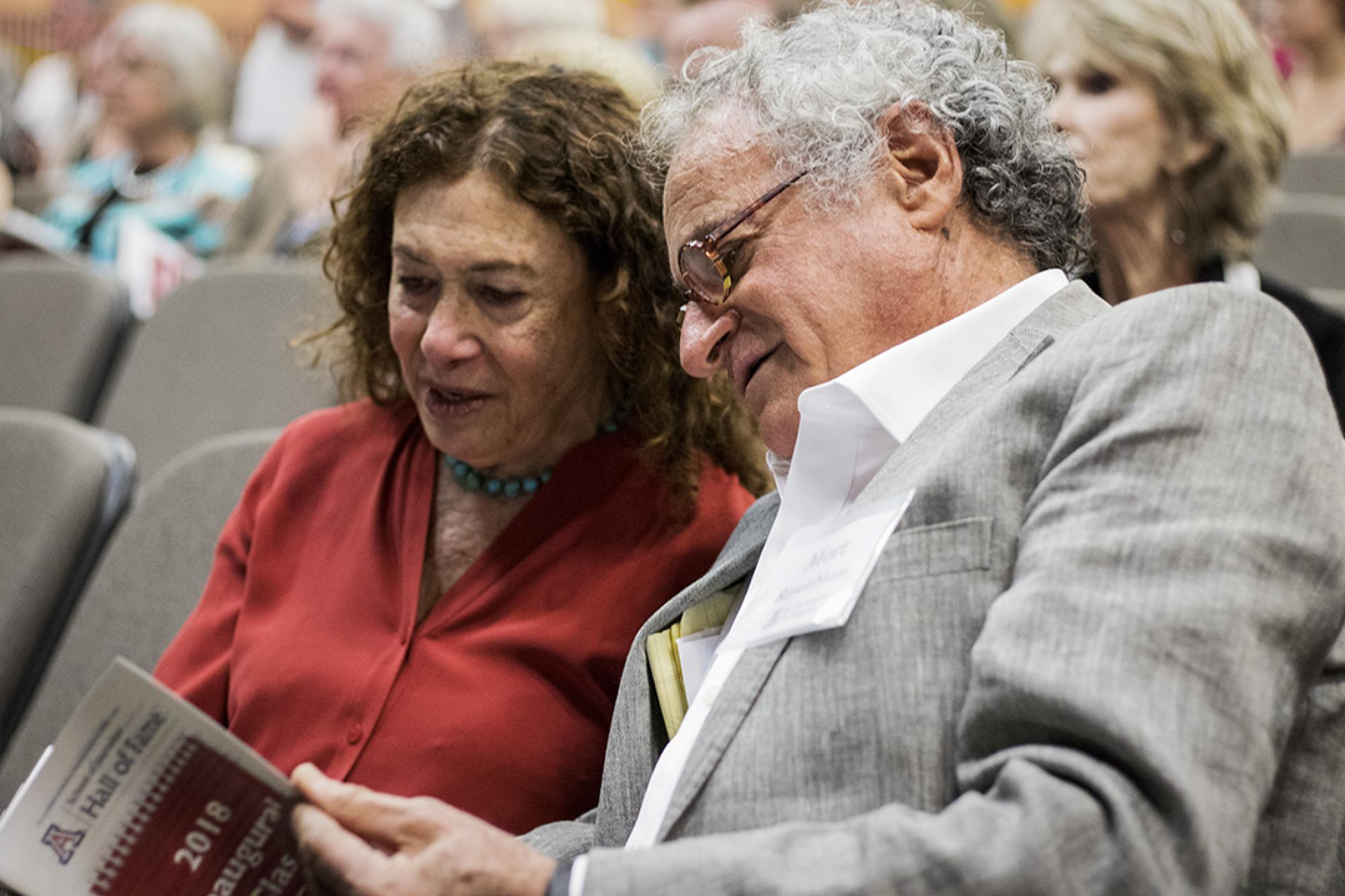 Inductees Jane Kay and Mort Rosenblum, who are siblings.
