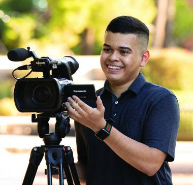 Broadcast student Hector Ponce