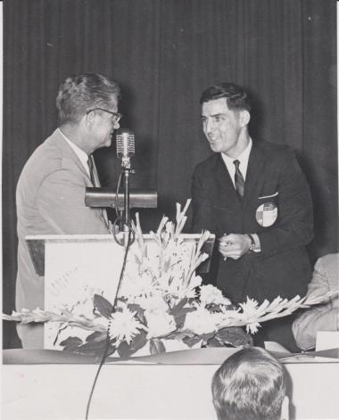 Frank Sotomayor receives the 1966 UA outstanding male graduate award.