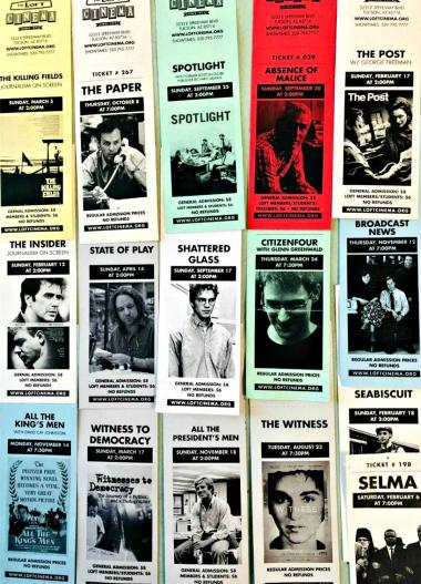 Collage of tickets from Loft journalism series