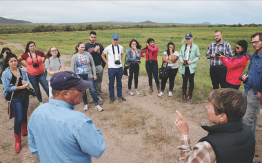 Jon Rowley and his wife, Peggy, gave students in the school's border reporting class a tour of their Amado ranch.