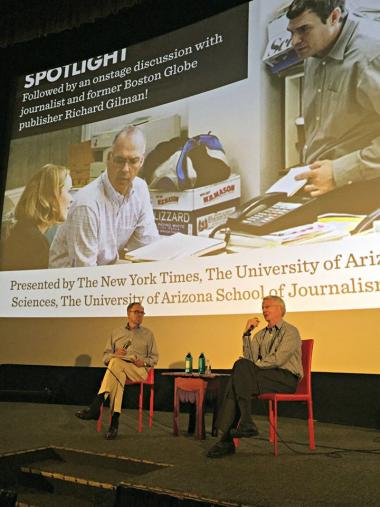 "Richard Gilman, left, chats with Professor William Schmidt after The Loft showing of ""Spotlight"" on Sept. 25, 2016"