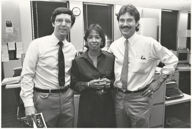 From left: Frank Sotomayor, Virginia Escalante and José Galvez, all UA grads, helped the L.A. Times win a Pulitzer Prize.
